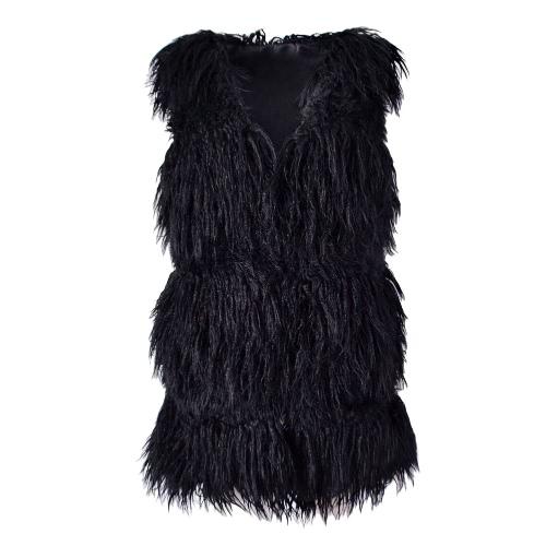 Flauschige Faux Pelz Weste Weste Herbst Winter ärmellose Oberbekleidung Frauen Mantel Soft Hairy Overcoat