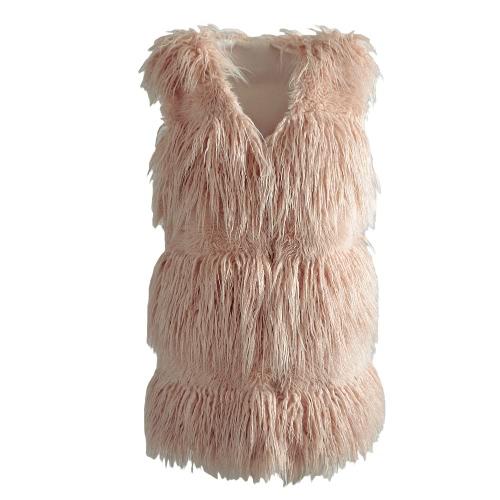 Chaleco de chaleco de piel sintética mullidas otoño invierno sin mangas abrigo de mujer abrigo suave peludo