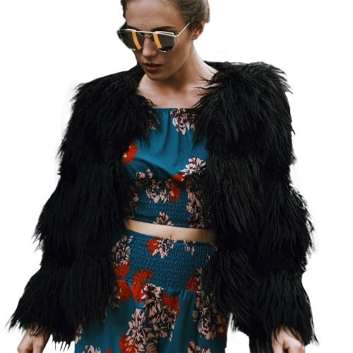 Moda Mulheres Outono Inverno Faux Fur Coat Aberta Frente Senhoras Casacos de manga comprida jaqueta