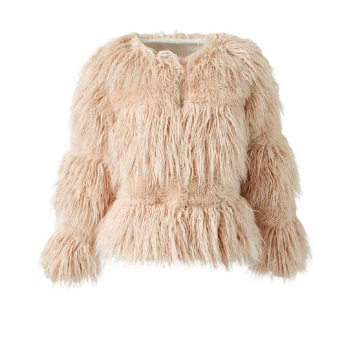 Moda Mujer Otoño Invierno Falso Abrigo Abrigo Frente Señoras Larga Chaqueta Chaqueta Chaqueta