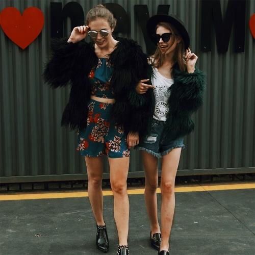 Fashion Women Autumn Winter Faux Fur Coat Open Front Ladies Long Sleeve Outerwear Jacket