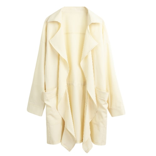 New Women Trench Coat Solid Lapel Pocket Rolled Sleeve Casual Cardigan Loose Outerwear