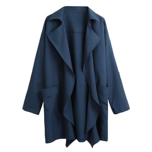 El nuevo bolsillo sólido de la solapa de la capa de foso de las mujeres soltó la prendas de vestir exteriores floja de la manga de la rebeca ocasional