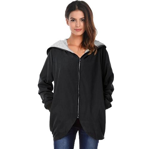 Hoodies de otoño de invierno Zip hasta manga larga más la chaqueta de mujer suelta de tamaño