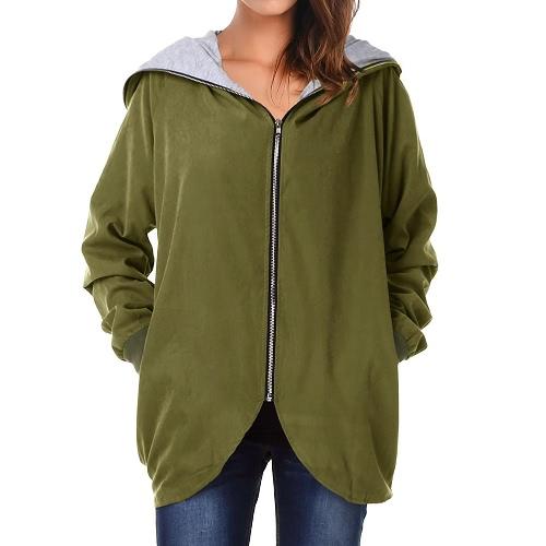 Autumn Winter Hoodies Zip Up Long Sleeve Plus Size Loose Women's Jacket