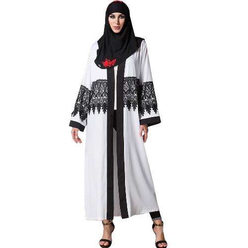 Casual Lace Robe Kobiety Musulmane Turecki Abaya muzułmańska sukienka Sweter z Rękawem Long Sleeve