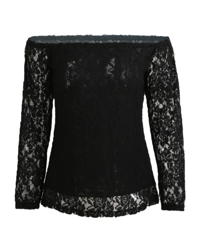 Women Summer Lace Blouse Off Shoulder Slash Neck Crochet Tops Long Sleeve Shirts Beige-Black