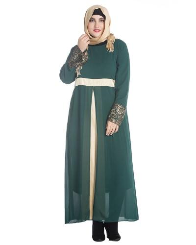 Mujeres Musulmanas Vestido de Manga Larga Maxi Abaya Vestido Islámico Casual Kaftan Vestido Musulmán Turco Gris / Verde / Negro
