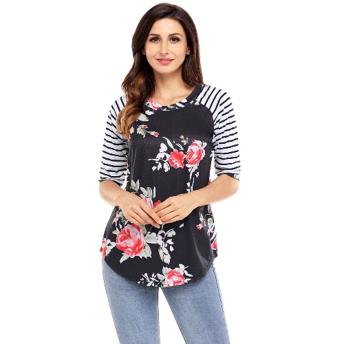 Moda Floral Print Stripes O-neck 3/4 Sleeves Irregular hem T-shirt feminino