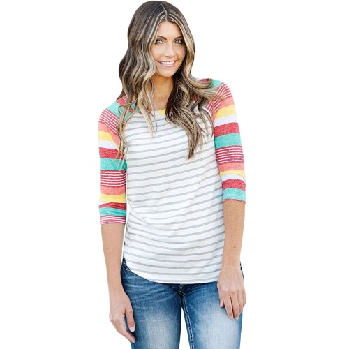Moda floreale stampa strisce O-collo 3/4 maniche Irregular hem Women's T-shirt