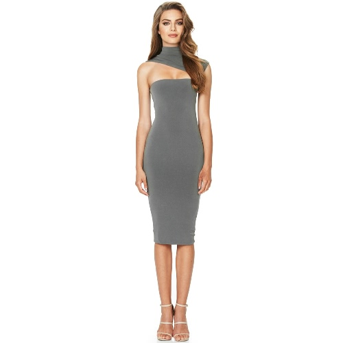 Nuevas mujeres atractivas vestido sólido de Midi Cut Turtleneck sin mangas Bodycon Nightclub Party Pencil Dress