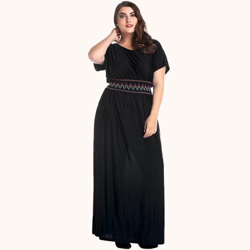Mujeres más tamaño vestido largo Batwing mangas cortas O cuello bordado elástico cintura sólido partido Maxi vestido