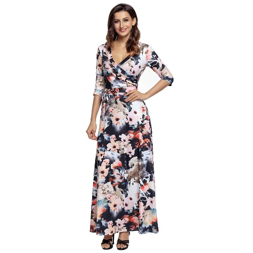 TOMTOP / Sexy Women Maxi Dress Floral Print Deep V Neck Cropped Sleeve Slim Belted Long Boho Dress