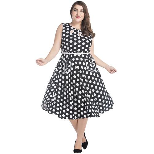 Mujeres Vestido Retro Plus Size Audrey Hepburn Polka Dot A-Line Grande Grande Tamaño Casual Vestido Negro