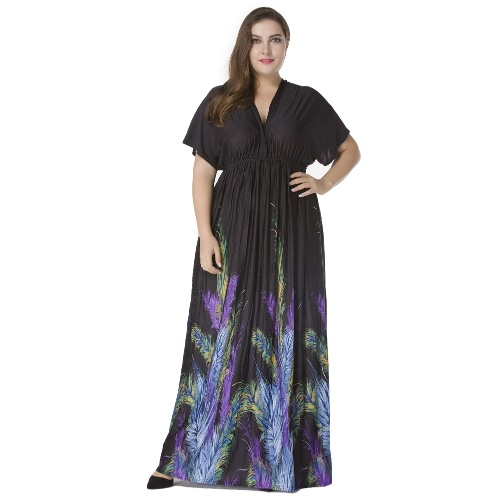 Sexy Women Plunge V Neck Print Vestido Plus Size Ruched Big Size Maxi Party Dress Black