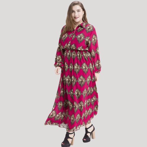 Bohemian Women Plus Size Chiffon Print Maxi Vestido Turn-down Collar Long Sleeve Elástico Waist Long Vestido Burgundy