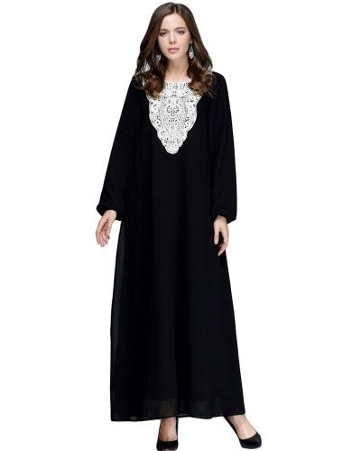 Las mujeres musulmanas más el tamaño del vestido maxi de la gasa apliques cuello redondo mangas largas Abaya islámica robe casual Kaftan vestido largo turco