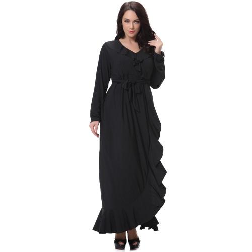 Sexy Mujeres V cuello largo mangas más vestido de tamaño Ruffles Irregular Hem gran tamaño sólido Maxi vestido negro