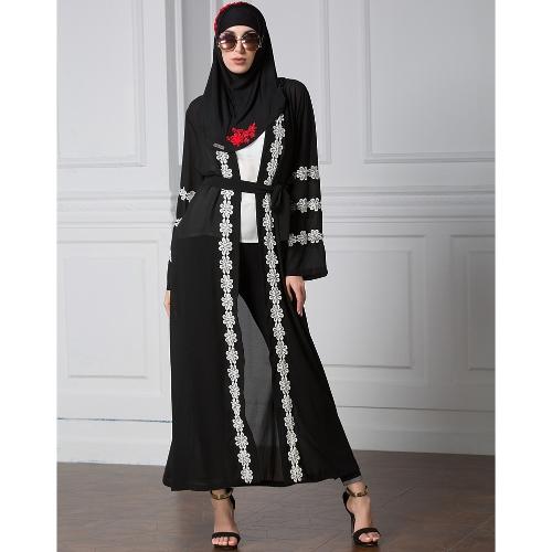 Kobiety Muzułmańskie Robe Cardigan Szydełkowe Koronki z długim rękawem z przodu Otwórz długi luźny sukienka Abaya czarny