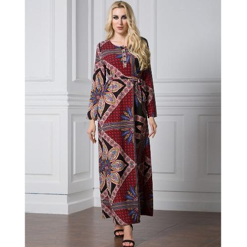 Mulheres Muçulmanas Vestido Longo Imprimir Luva Longa Frente A-Line Vestido Médio Oriente Islâmica Arábia Abayas