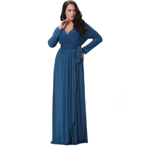 Vestido de las mujeres atractivas Sólido Profundo V Drape Asimétrico Ruching de cintura alta Vestido largo Maxi Evening Party de una pieza azul