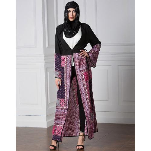 Vintage Boho Women Plus Size Muçulmano Cardigan Geométrico Imprimir Vestido longo Islamic Abaya Maxi Robe Outwear Black