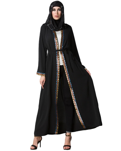 Vintage Women Arabia Bliski Wschód Long Muslim Trench Coat Plus Rozmiar Retro Spliced ​​Long Sleeve Maxi Robe Black
