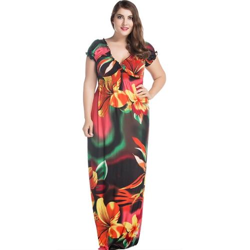 Women Plus Size Mixi Vestido longo Bohemia Floral Print V-Neck Mangas curtas Casual Beach Holiday Dresses Vermelho