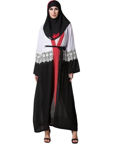 Chiffon kobiet muzułmańskich Abaya Sweter z Karkonoszy Z Długim Rękawem Otwórz Przód Robe Belted Kaftan Islamska Arabska Maxi Sukienka Czarna