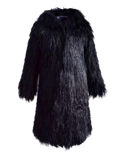 Mujeres Chaqueta de piel sintética de color sólido con capucha de manga larga Fluffy peludo invierno cálido de abrigo largo delgado