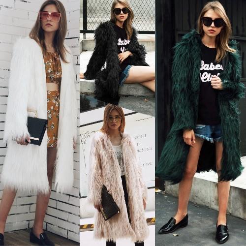 Mujeres Chaqueta de piel sintética de color sólido con capucha de manga larga Fluffy peludo invierno cálido de abrigo largo delgad