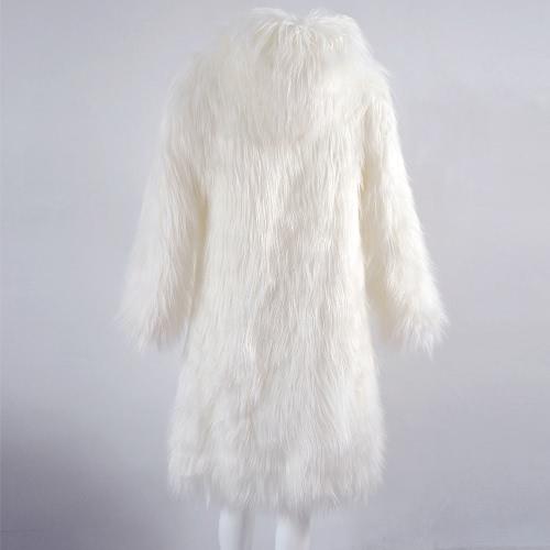 Women Faux Fur Jacket Solid Color Hooded Long Sleeve Fluffy Hairy Warm Winter Slim Long Outerwear