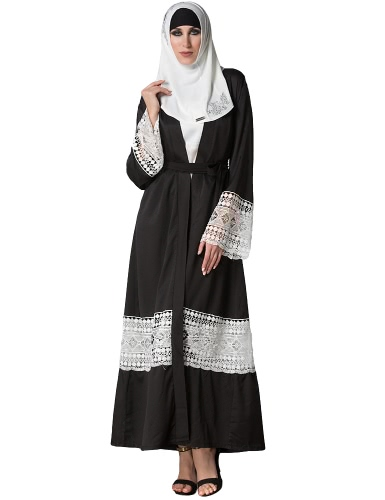 Moda Mulheres Muçulmanas Roupas de renda de lábio manga longa Abaya Kaftan islâmico árabe Casaco comprido Belted Trench Coat Black