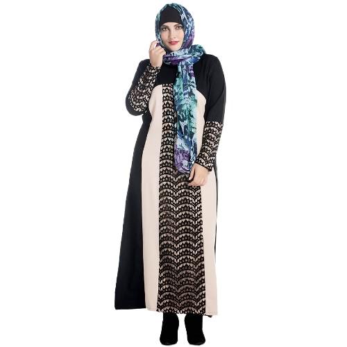 Mujeres musulmanes de encaje Robe de manga larga de cremallera frontal cuello redondo Long Loose Minddle Easy Abaya vestido