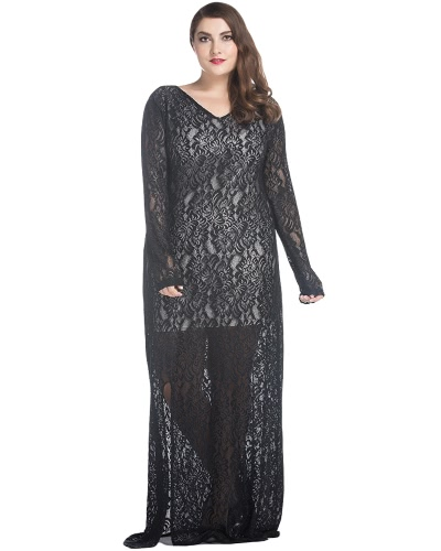 Mulheres Plus Size Lace Maxi Dress V-Neck Full Sleeve Lined Evening Party Solid Long Dress