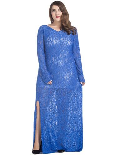 Mujeres de talla grande vestido de encaje Maxi V-cuello de manga completa alineadas Evening Party vestido largo sólido
