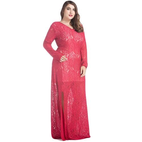 Vestito pieno dal manicotto pieno del vestito dal maxi del merletto di formato delle donne più il vestito lungo solido del partito di sera