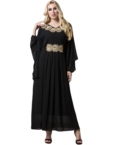Women Muslim Maxi Dress Embroidery Long Sleeve Abaya Kaftan Islamic Arab Robe Chiffon Dress Black/Green
