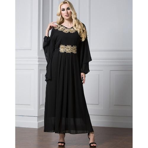 Women Muslim Maxi Dress Embroidery Long Sleeve Abaya Kaftan Islamic Arab  Robe Chiffon Dress Black Green black 4xl Online Shopping  458b9a49894