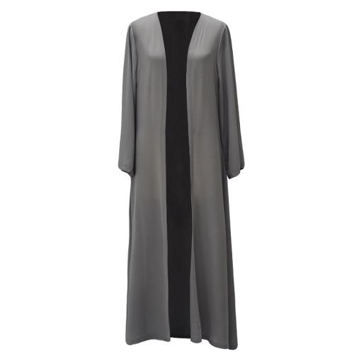 Chiffon kobiet muzułmańskich Abaya Cardigan długi rękaw otwarty Przód Robe Belted Kaftan islamskich Arab Maxi Sukienka Szary / Żółty