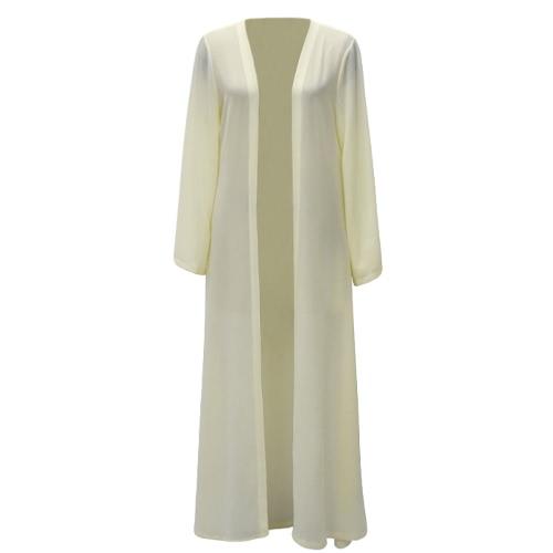 Mujeres Chiffon Musulmanes Abaya Cardigan Abrigo de manga larga Abrigo Abierto Kaftan Cinturón islámico Maxi vestido gris / Amarillo