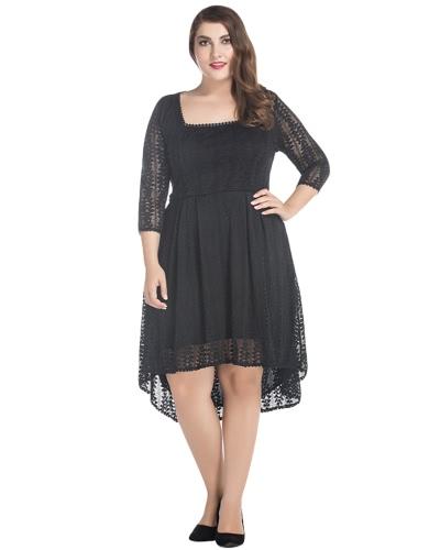 Vestido de renda com tamanho feminino Vestido quadrado irregular com manga 3/4 Vestido elegante em meia-noite de festa A-Line Preto