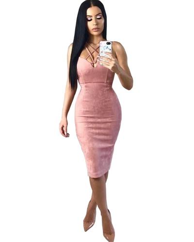 Sexy Women Strappy Dress Faux Swede Zipper Back Slit Detail Vestido sem mangas Bodycon Pink