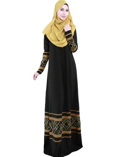 Frauen Muslim Plus Size Maxi Lange Kleid Geometrische Druck Langarm Tasche Reißverschluss Islamic Abaya Kleid