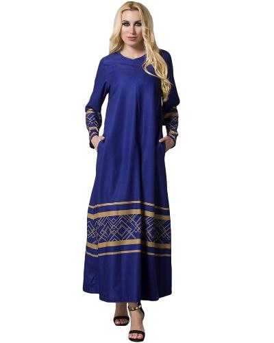 Mujeres musulmanas más tamaño Maxi vestido largo geométrico Imprimir manga larga bolsillo cremallera islámica Abaya vestido