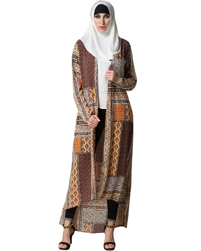 Mulheres muçulmanas Cardigan Geometric Print Split High-Low Hem Manga longa Islamic Abaya Maxi Dress Outwear