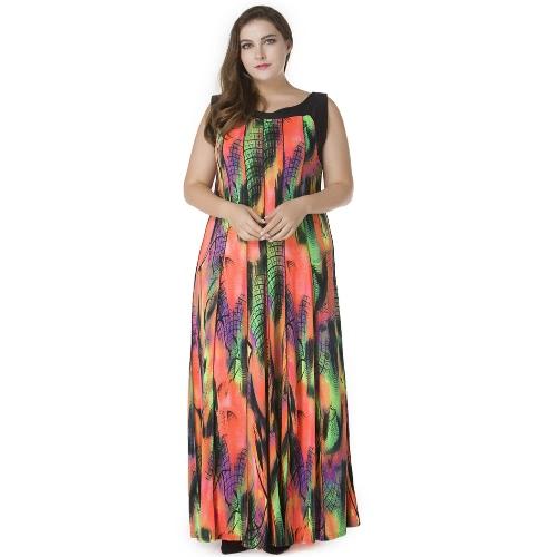 Mulheres Tamanho Plus Bohemian Vestido longo sem mangas Imprimir Casual Loose Plissado Maxi Vestido Sundress Laranja
