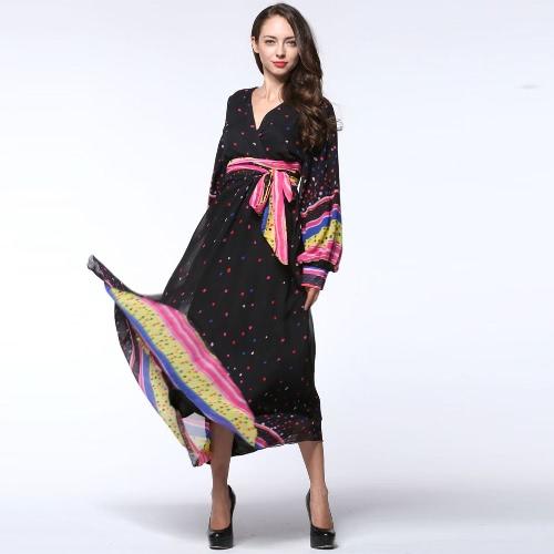 Damska sukienka z suwakiem Wielkanocna Polka Dot Print V Suknia z długim rękawem z karku Casual Boho Belted Maxi Long Dress Black