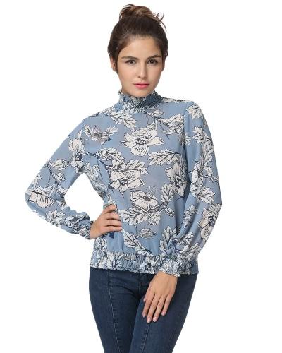 Nowa bluzka damska chiffon z jesienią Floral Print Elastyczna koszulka z długim rękawem Casual Elegant Top Blue