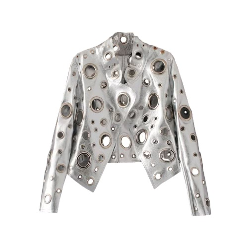 Nueva chaqueta de cuero de la PU de las mujeres ahueca hacia fuera el oro largo de la manga de la manga del agujero corto cubre el oro / la plata / el negro